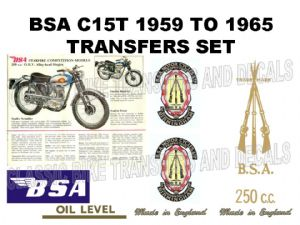 BSA C15 Starfire Competition 1959 to 1965 Transfer Decal Set